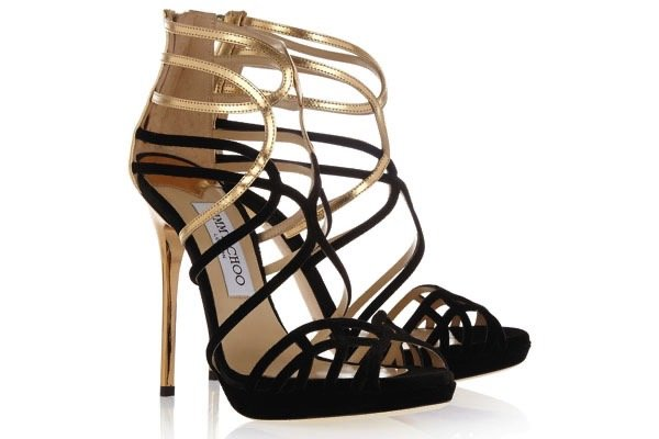 Melvin Velvet and Metallic Leather Sandals