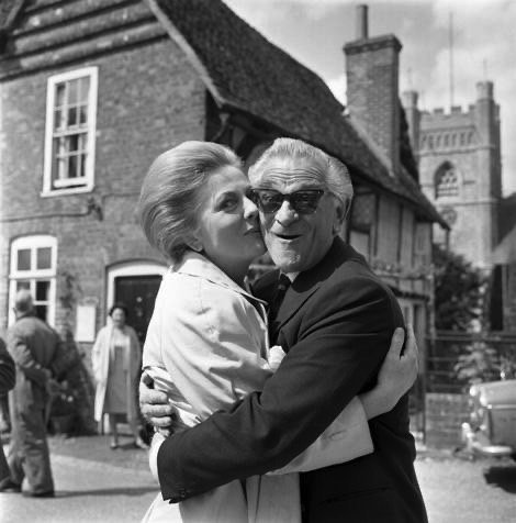 Joan Fontaine hugs Anthony Nelson on the set of The Witches, 1966