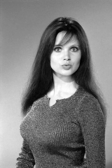Madeline Smith behind the scenes at Hammer Horror