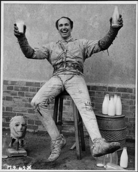 Eddie Powell off duty on the set of The Mummy's Shroud, 1966