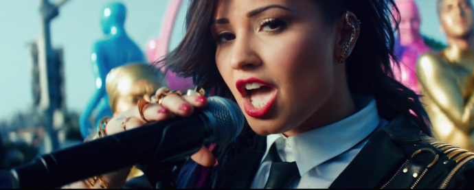 Demi Lovato in her Really Don't Care video.